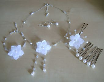 Adornment jewelry Necklace/Bracelet/earrings/spikes/Crystal white bridal/wedding beads flower original (not cheap, small price)