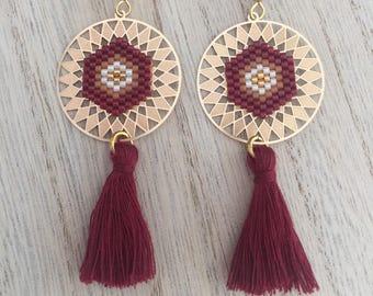 Burgundy, Brown, ecru and gold earrings