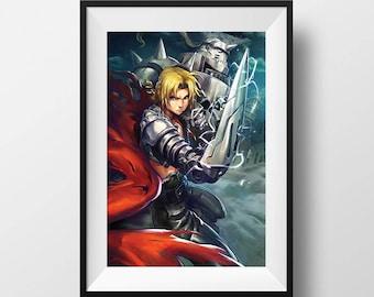 Full Metal Alchemist Edward Elric Alphonse Poster Fullmetal Alchemist Print FMA Brotherhood Anime Wall Art Anime Home Decor Manga Fanart