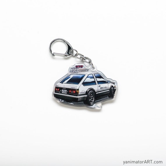 AE86 Hachiroku Trueno Corolla GTS Initial D Takumi Fujiwara Metal Enamel Keychain Car Racing Anime