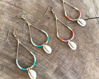Earrings pearls and cowrie shell