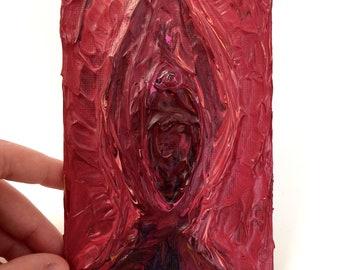 Empowering Red, Pink and Purple Expressive Textured Acrylic Vagina Vulva Painting Vagina no.2