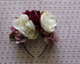 Peach Pink Orchid Rose Flower Garland Headband Hair Crown Festival Boho Vtg 2922