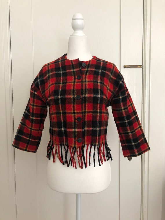 Fringed cropped wool 50s / 60s tartan plaid wool j