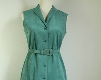 1960s Green suede dress