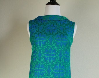1960s Blue Brocade Dress
