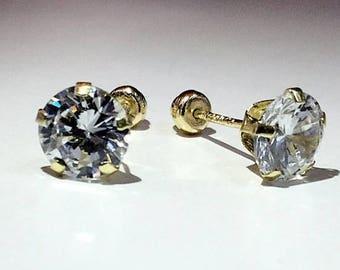 CZ earring, CZ stud earrings, 6 mm stud earrings, studs, 10k gold CZ stuf earrings, 10k gold studs, gold studs