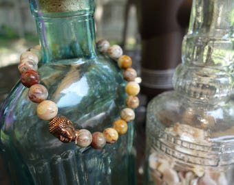 Mexican Laguna Lace Agate Beaded Bracelet with Buddha