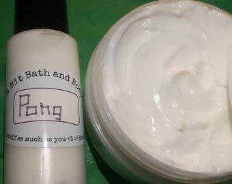Pong body frosting lotion- 1oz,2oz, and 4oz bottles, 4oz jar
