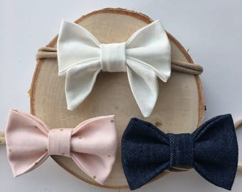 Gifts for her, Sailor bow, baby bows, infant bows, baby girl headband,nylon headband, baby girl bow, baby headband, baby shower gift