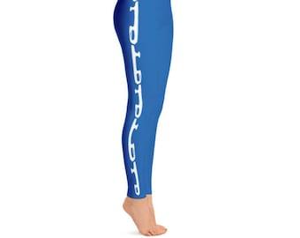 Champion Blue Figure Skater Leggings, Hand Sewn with Comfort Elastic Waistband, Durable Ice Skating Leggings, Figure Skater Pants