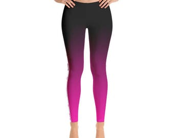 Fade to Pink Figure Skater Leggings, Slimming Design Durable Hand Sewn Skating Leggings with Comfort Elastic Waistband for Figure Skaters