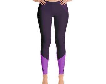 Purple Figure Skater Leggings With Blade Detail, Hand Sewn Durable Skating Pants with Comfort Elastic Waistband, Four-way Stretch Fabric