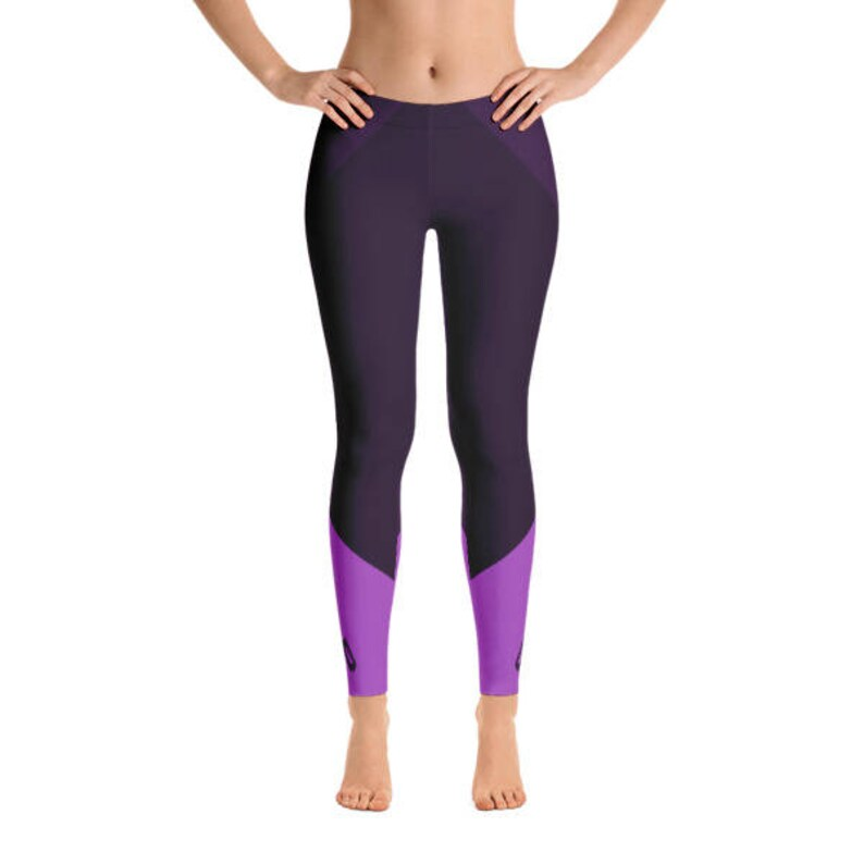 Purple Figure Skater Leggings With Blade Detail Hand Sewn image 0