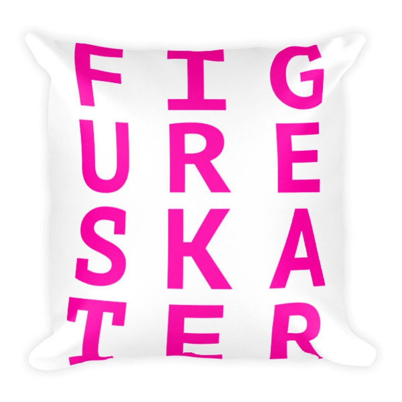 Figure Skater Pink Square Pillow image 0