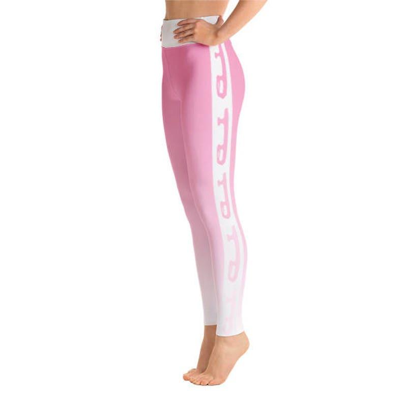 Figure Skater Pink to White Yoga Leggings Durable Hand Sewn image 0