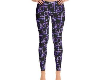Purple & Black Figure Skater Print Leggings, Durable Figure Skating Pants, Hand Sewn with Comfort Elastic Waistband, Four-way Fabric Stretch