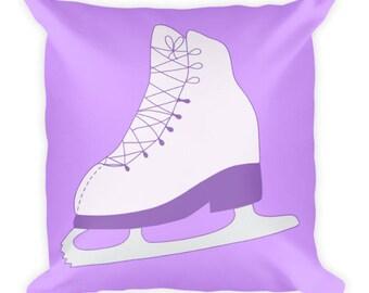 Purple Figure Skate Square Pillow