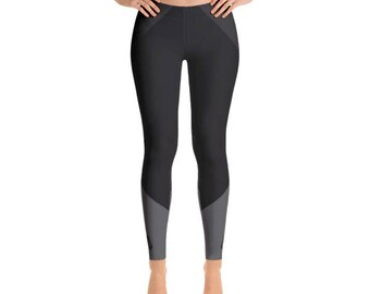 Black & Gray Figure Skater Leggings With Blades Detail, Slimming Design, Durable Comfortable Figure Skater Pants with Elastic Waistband