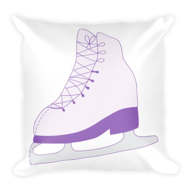 Purple Ice Skate Square Pillow Figure Skater's Pillow image 0