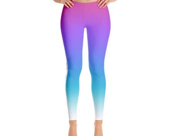 Ombre Figure Skater Leggings With Blades, Durable Figure Skating Pants, Hand Sewn with Comfort Elastic Waistband and Four-Way Stretch
