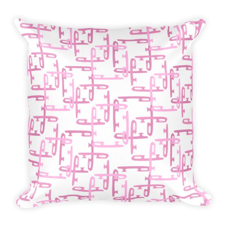 Figure Skate Blades Pink Square Pillow image 0