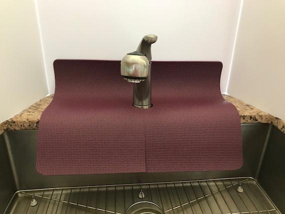 Maroon kitchen sink faucet splash guard, 17in width x 23 in length, TM(4),  copyright 2017, Patent Pending