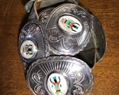 Vintage Navajo Silver and Inlay Concho Belt