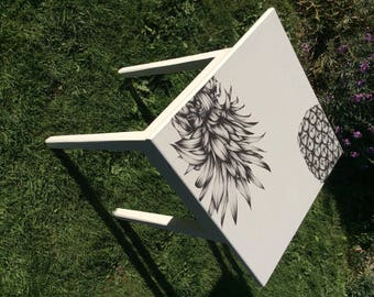 White pineapple up-cycled side table