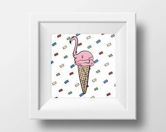 Flamingo Scoop Art Print// Home Decor // Wall Art // Original