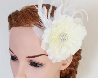 LISALI Bridal Ivory Feather Fascinator,  Wedding Feather Headpiece, Feather Flower Headpiece, Feather hair clips White