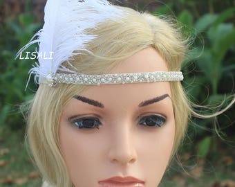 LISALI 1920s Flapper Headbands Great Gatsby Headpiece with Black White Flapper Headpiece