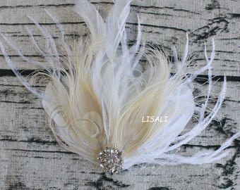 LISALI  Ivory Fascinator, Wedding Feather Fascinator, Bridal Feather Headpiece, Feather Fascinator, Wedding Feather Hairpiece