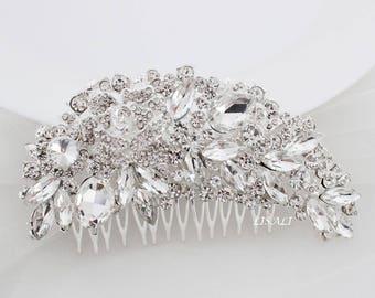 LISALI Large Bridal Headpiece, Wedding Hair Comb, Bridal Crystal Headpiece, Bridal Hair Comb Crystal Jeweled Bridal Hair Accessory