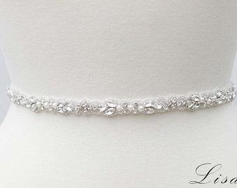SILVER CLEAR CRYSTAL OFF WHITE PEARL Wedding Sash Belt Wedding Sash Belt