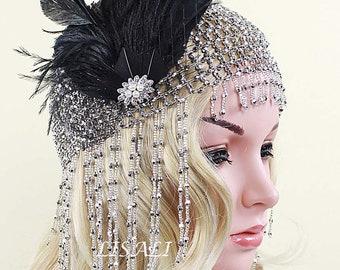 2ee61d6e72b56 LISALI 1920s Headpiece, Fully Beaded Silver Fringe Flapper Head Cap, Gatsby  Wedding Accessories, 20's Flapper Headpiece Black