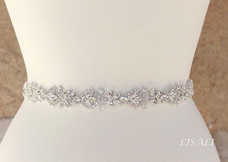 LISALI Bridal Belt Sash Rhinestone Belt Wedding Dress Belt  image 0