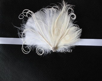 LISALI Ivory White  Ostrich Feather Corsage Gatsby Wedding Feathers Wrist Corsage Feacock Corsage Prom Flower girl,Bridesmaid 1920s Corsage