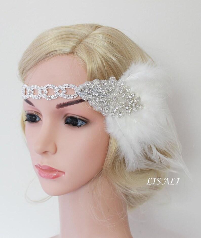 1920s Crystal Wedding Great  Feather Elastic Headband Headpieces Decor