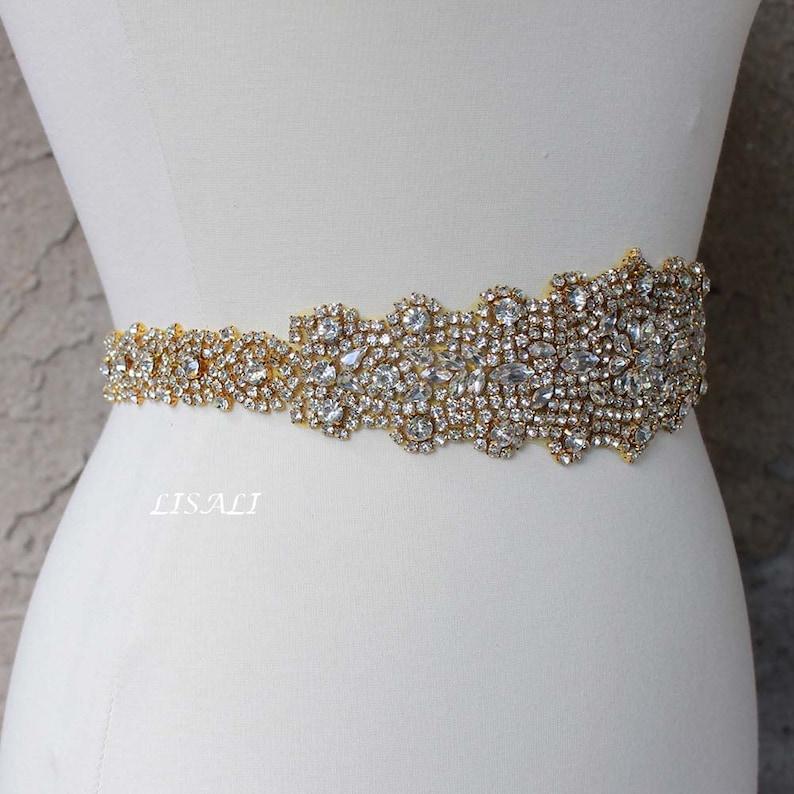 30df48390 LISALI Long Crystal Luxury Bridal Sash Wedding Dress Sash | Etsy