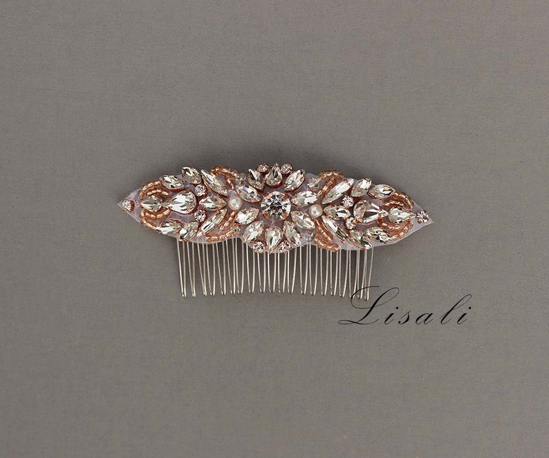 Crystal Bridal Headpiece Hair Accessory Headpiece Jewelry Headpiece LISALI Wedding Haircomb Rose Gold Hair Tiara Rhinestone Hairpiece