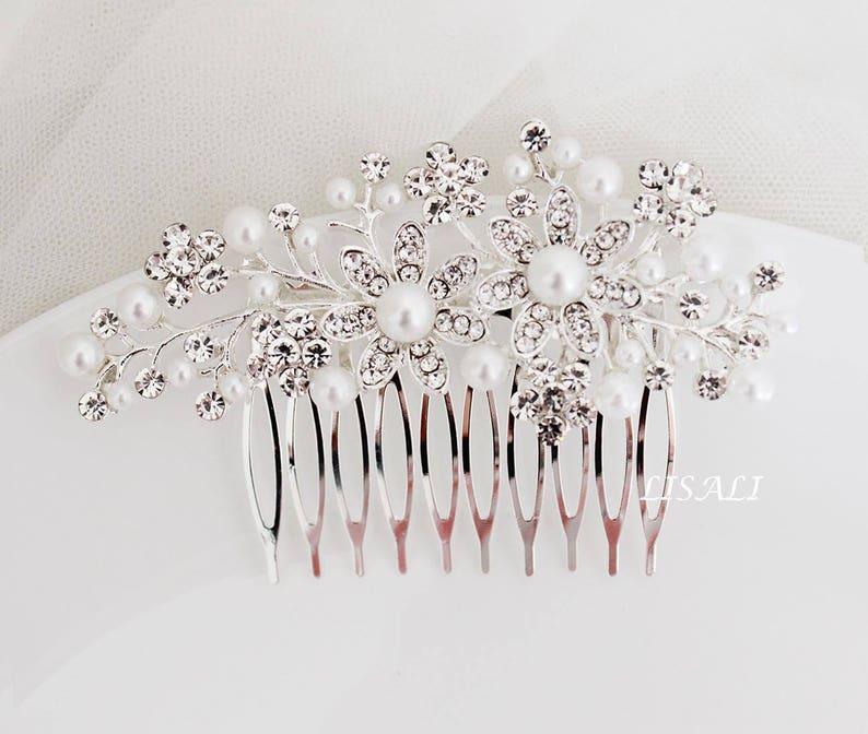 Wedding Hair Comb Bridal Headpiece Bridal Jewelry LISALI Crystal and Pearl Bridal Hair Comb Wedding Hair Accessories Floral Hair Comb
