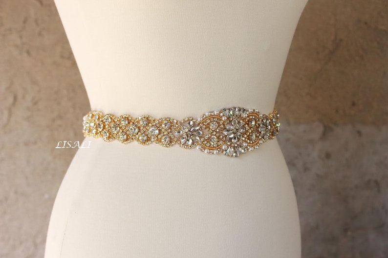 668cf6302 LISALI Sparkly Gold All Around Rhinestone Belt Wedding Belt | Etsy