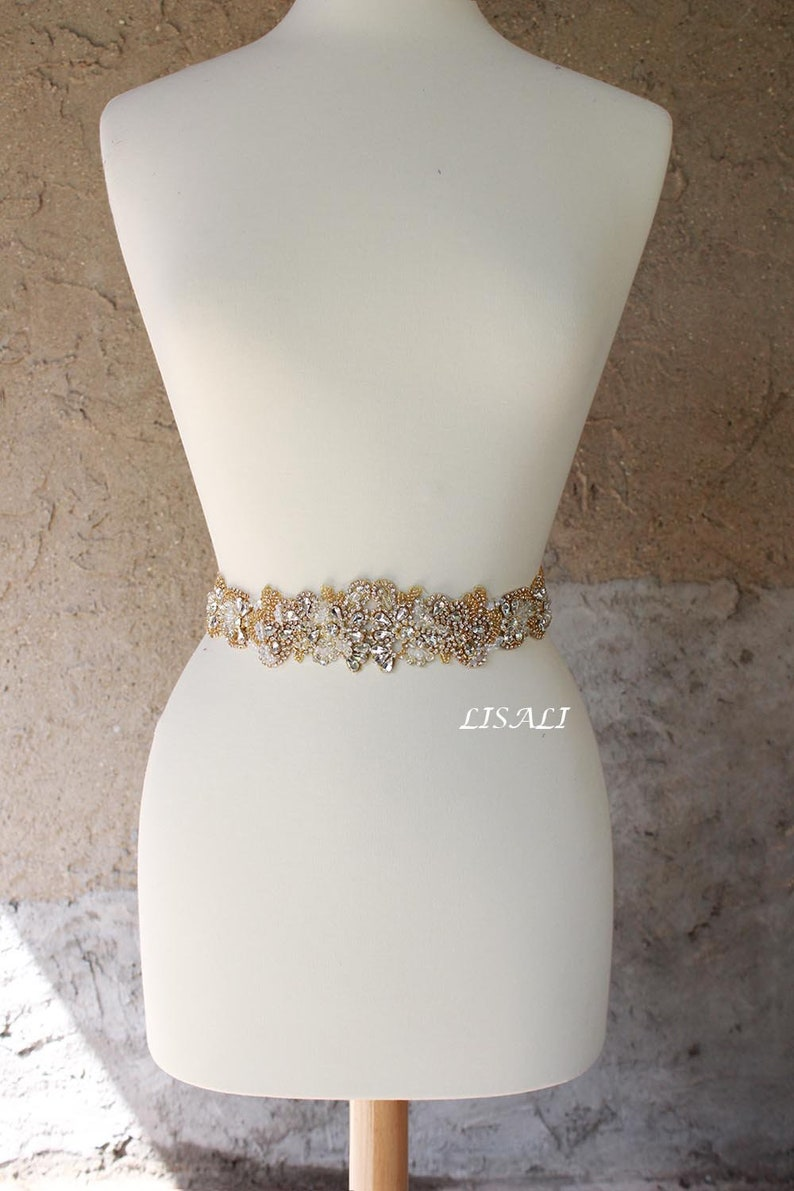 194d6a77c LISALI 21 Sparkly Wedding Belt Gold Rhinestone Belt | Etsy