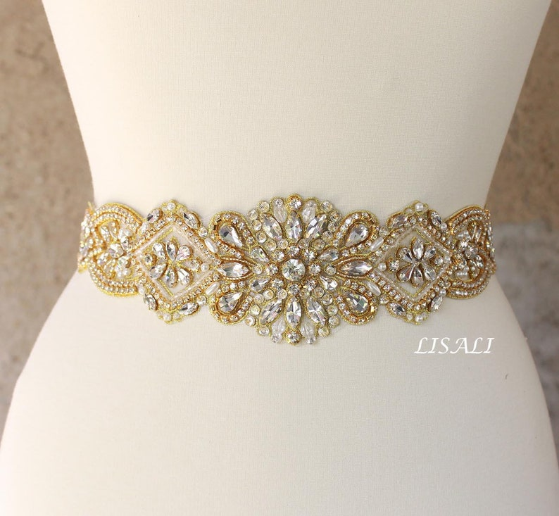 b77a9d9d0 LISALI 18 Sparkly Wedding Belt Gold Rhinestone Belt | Etsy