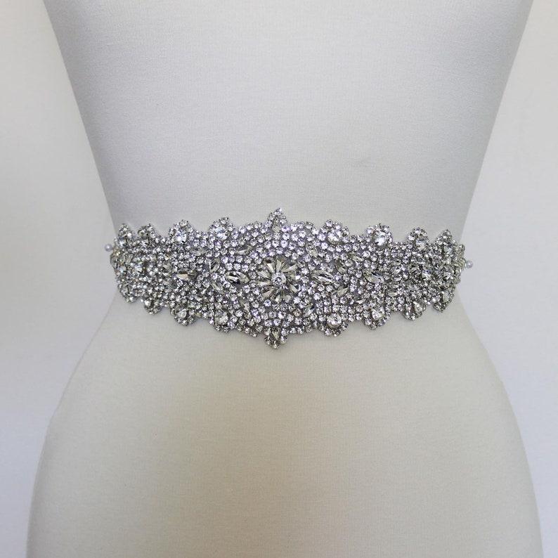 a05dc2aa7 LISALI Silver Crystal Luxury Bridal Sash Rhinestone Belt | Etsy