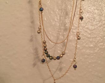 Lace Chain Choker with Stone Tassels