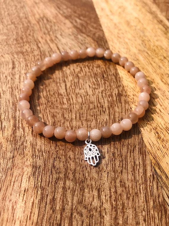 Pink Moonstone Bracelet Gemstone Bracelet Best Seller Bracelet Sterling Silver Hamsa Pendant Balance Bracelet Peace Bracelet