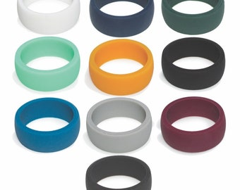 Big SALE Silicone Rings For Men, Men's Silicone Wedding Band Ring -Great for gym, sports, style, beach, engagement, active. Rubber Rings