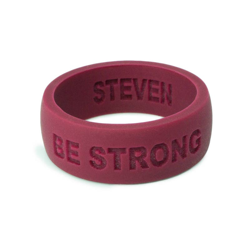 Personalized Silicone Wedding Ring Band DARK RED Anniversary Gift for Men Husband gift For him Custom silicone safe Ring fitness